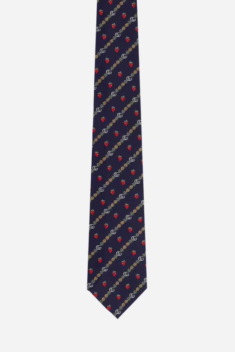 GUCCI: Double G, pineapples and strawberries motif silk tie Color Blue_1