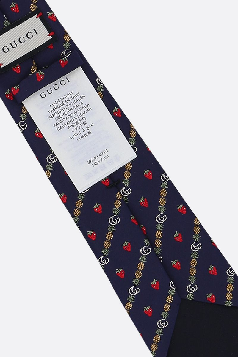 GUCCI: Double G, pineapples and strawberries motif silk tie Color Blue_2