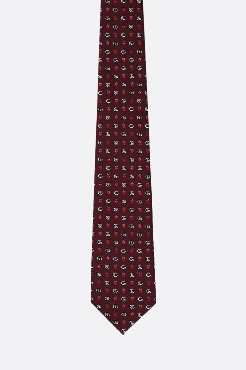GUCCI: Double G and strawberries motif silk tie Color Red_1