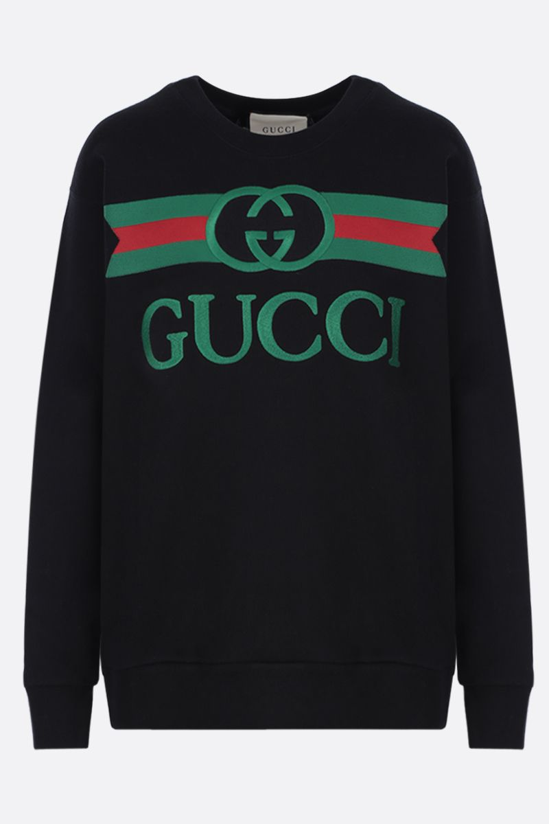 GUCCI: Gucci vintage embroidered cotton oversized sweatshirt Color Black_1