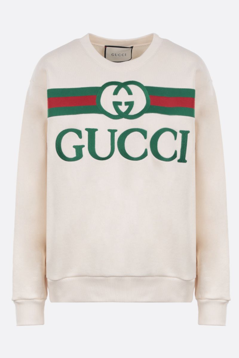 GUCCI: Gucci vintage embroidered cotton oversized sweatshirt Color White_1