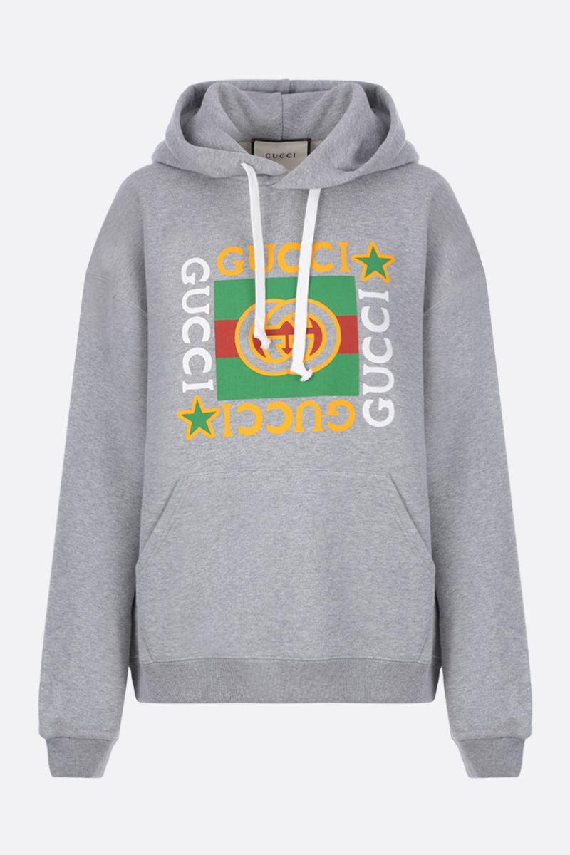 GUCCI: Gucci vintage logo star print cotton oversized hoodie Color Grey_1