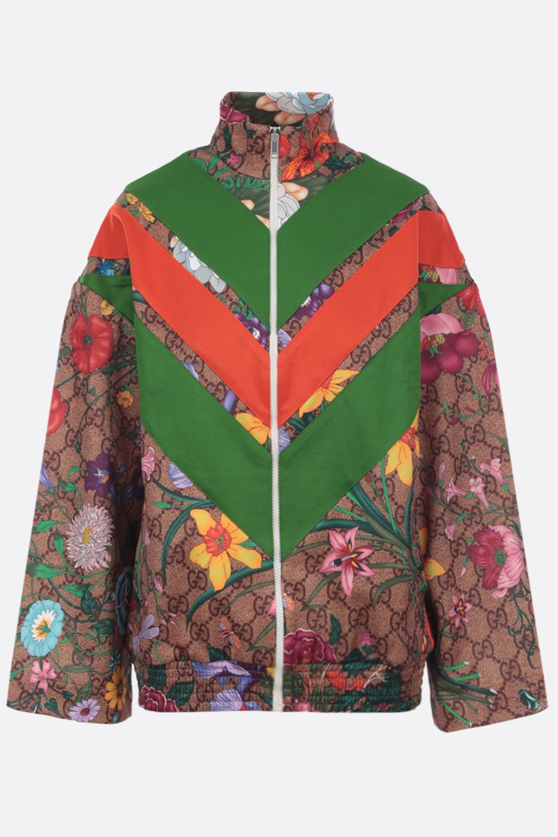 GUCCI: oversized full-zip sweatshirt in GG Flora technical jersey Color Multicolor_1