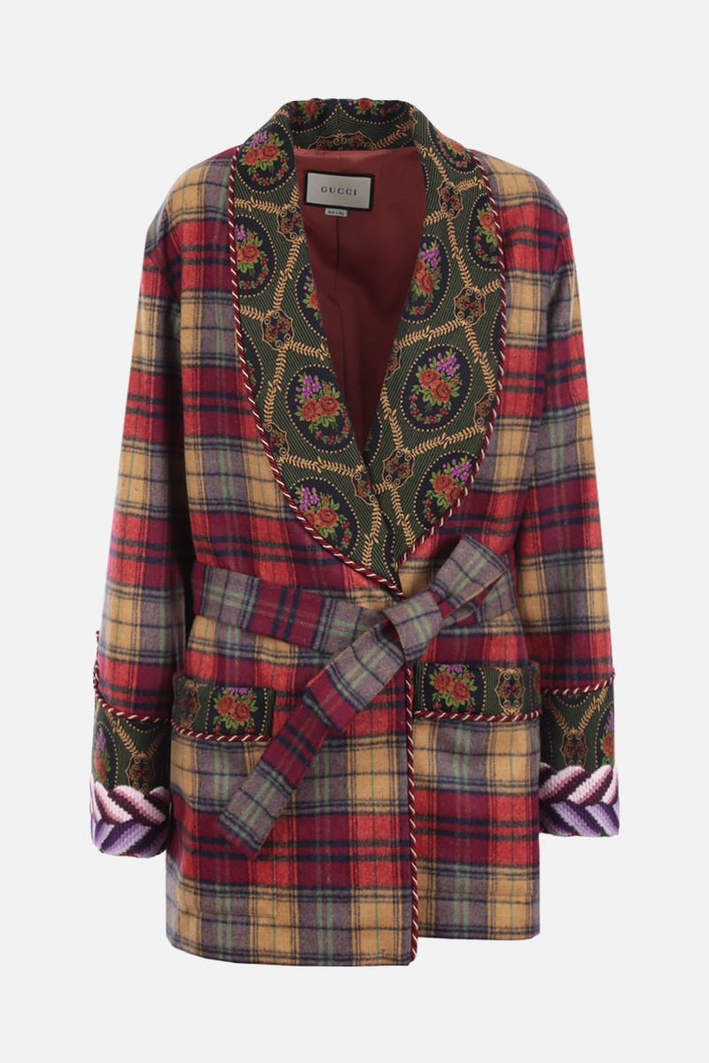 GUCCI: check wool blend wrap jacket Color Neutral_1