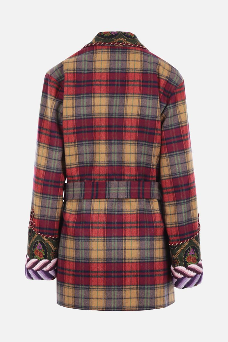 GUCCI: check wool blend wrap jacket Color Neutral_2