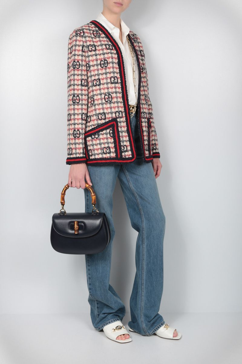 GUCCI: giacca in tweed a quadri GG Color Multicolor_2
