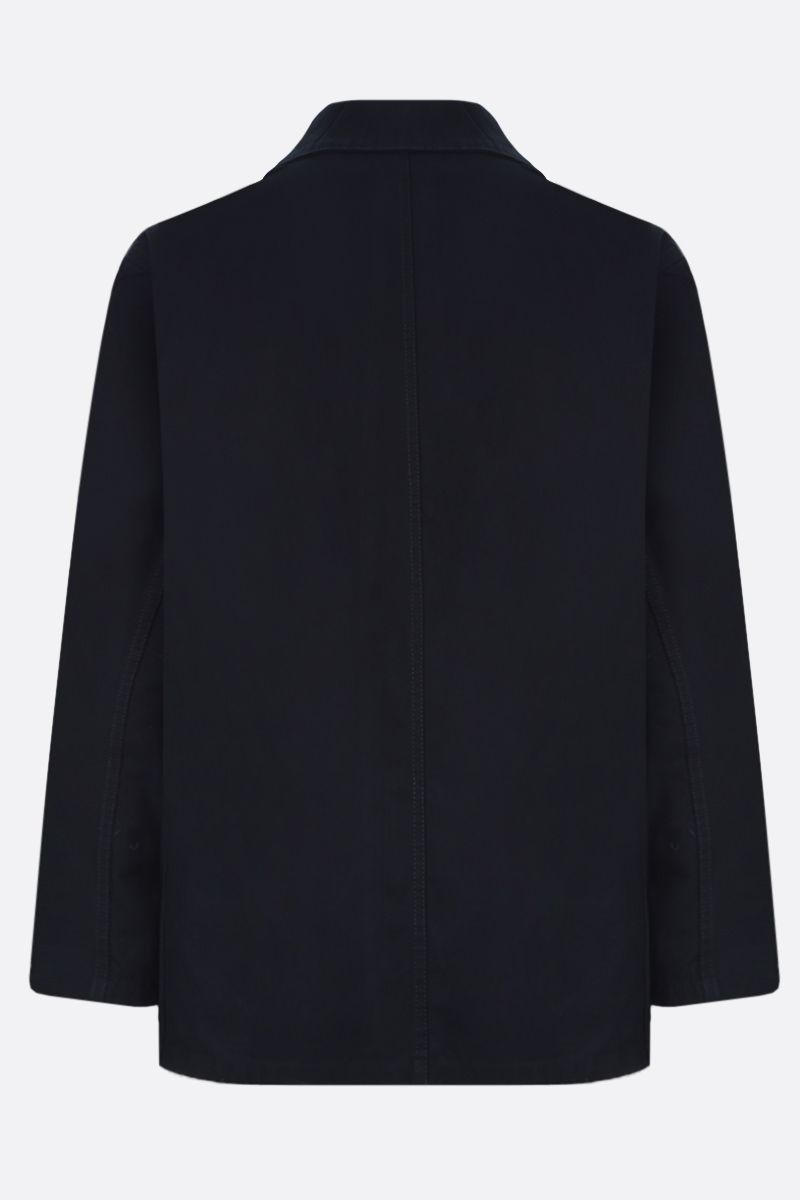 GUCCI: cardboard label-detailed cotton oversized jacket Color Blue_2