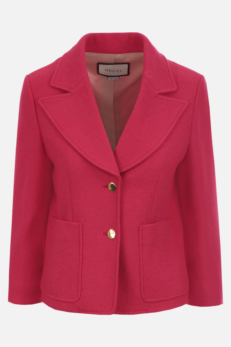 GUCCI: giacca monopetto in tweed Colore Rosa_1