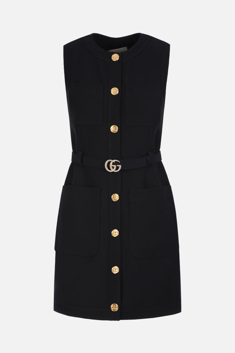 GUCCI: cady single-breasted vest with GG belt Color Black_1