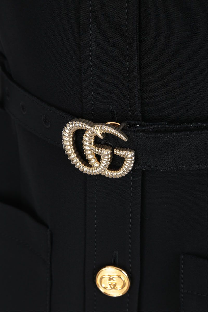 GUCCI: cady single-breasted vest with GG belt Color Black_3