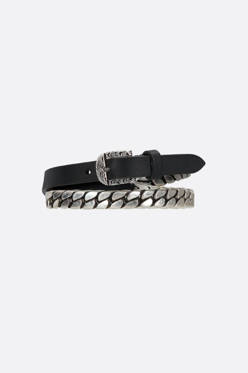 GUCCI: double-wrap chain bracelet in sterling silver and leather Color Silver_1