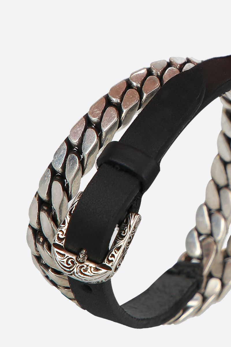GUCCI: double-wrap chain bracelet in sterling silver and leather Color Silver_2