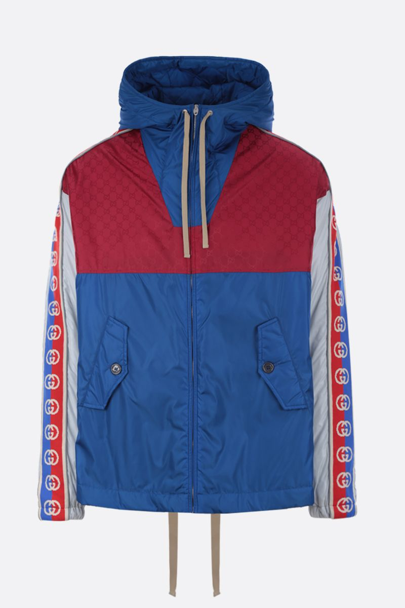 GUCCI: nylon padded jacket with Interlocking G stripe_1