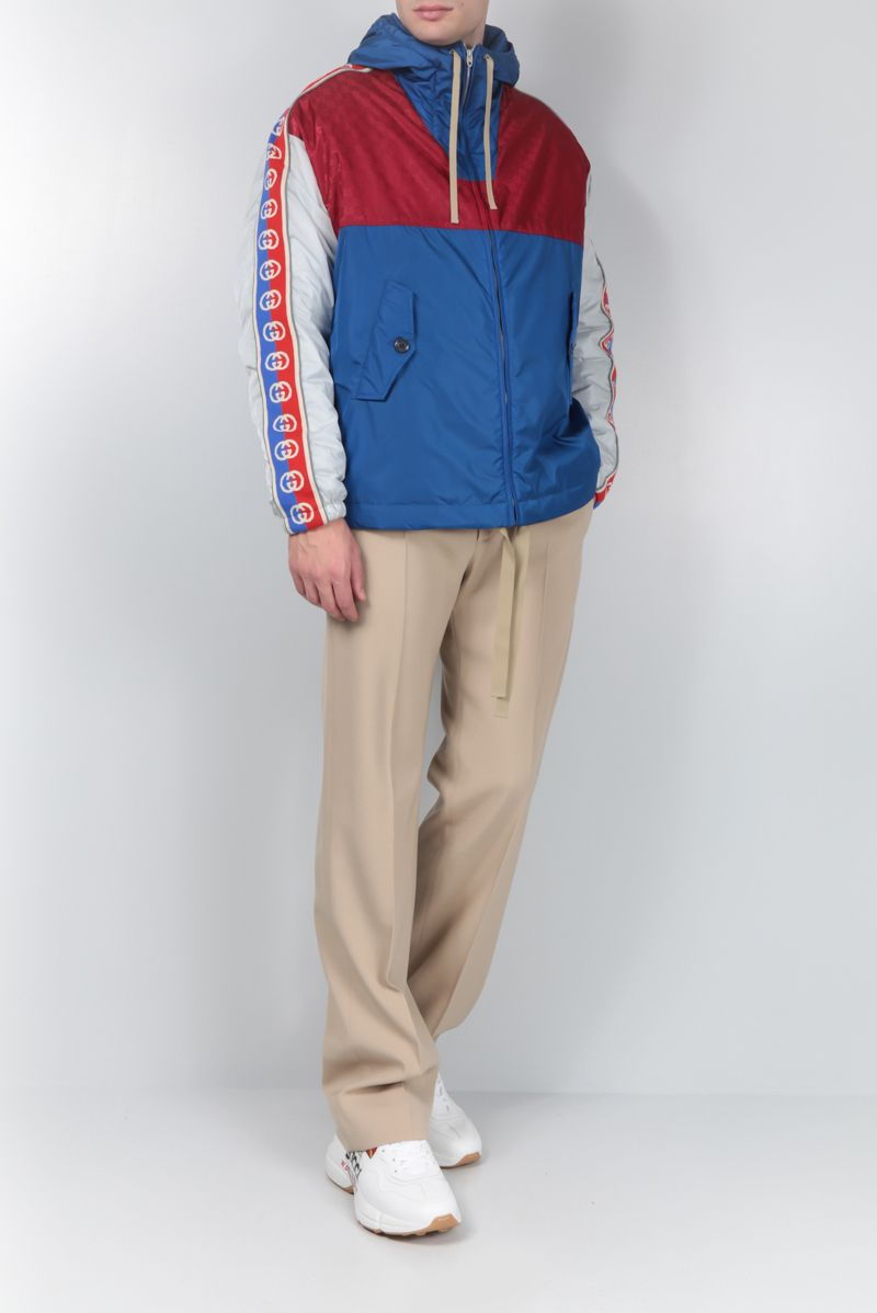 GUCCI: nylon padded jacket with Interlocking G stripe_2