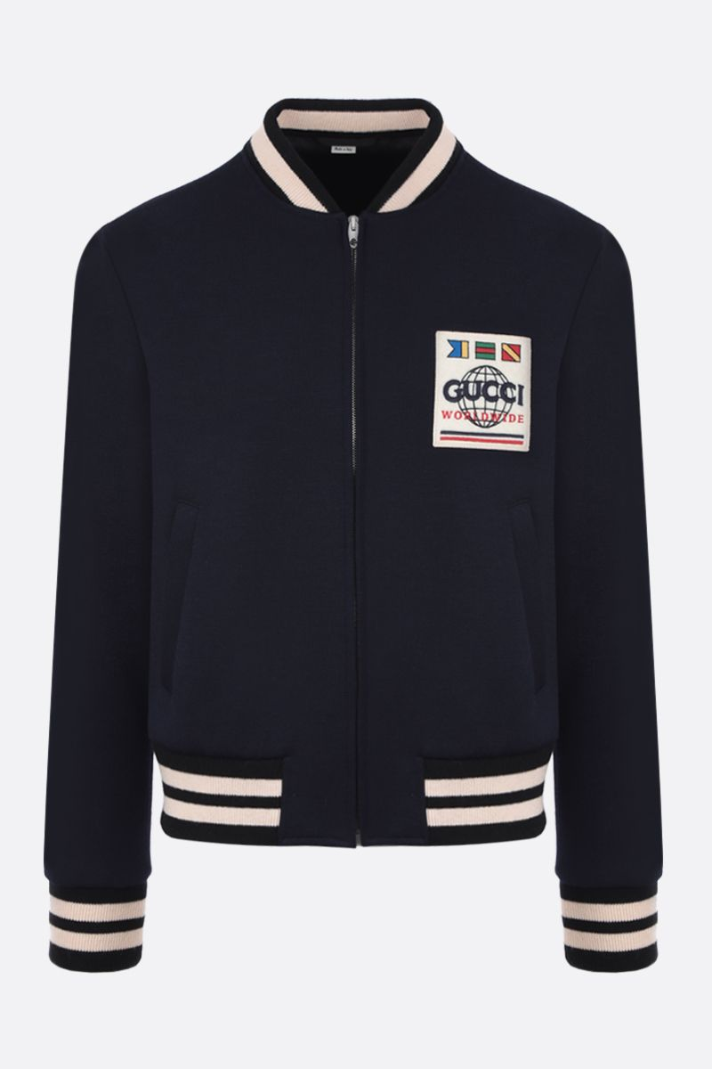 GUCCI: Gucci Worldwide patch wool blend bomber jacket Color Blue_1