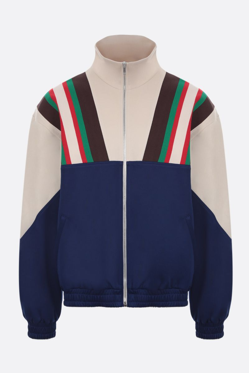 GUCCI: Web-detailed technical jersey full-zip sweatshirt_1