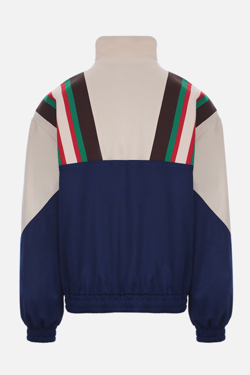 GUCCI: Web-detailed technical jersey full-zip sweatshirt_2