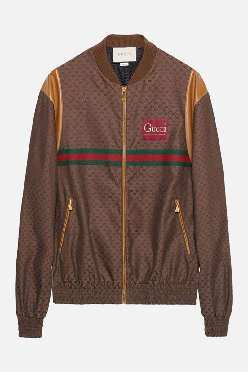 GUCCI: leather-detailed mini GG fabric bomber jacket Color Brown_1