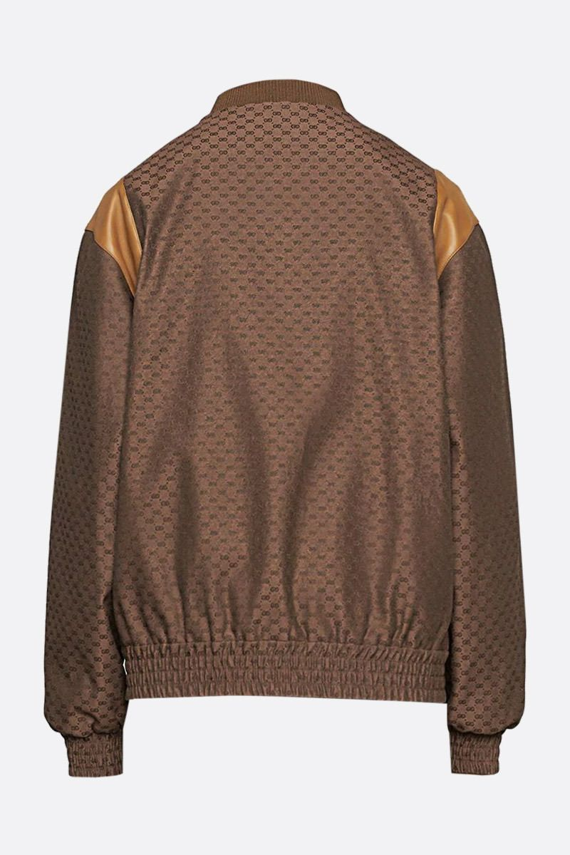 GUCCI: leather-detailed mini GG fabric bomber jacket Color Brown_2