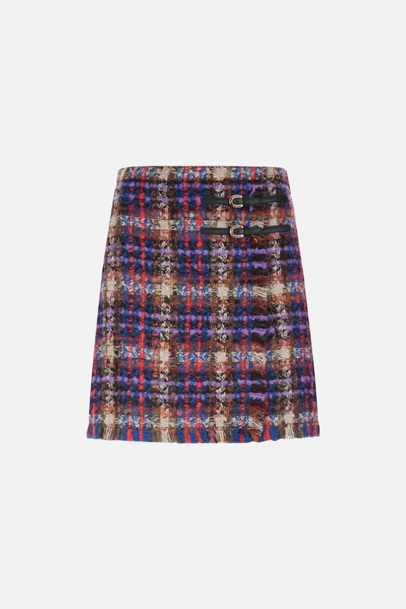 GUCCI: check tweed A-line miniskirt_1