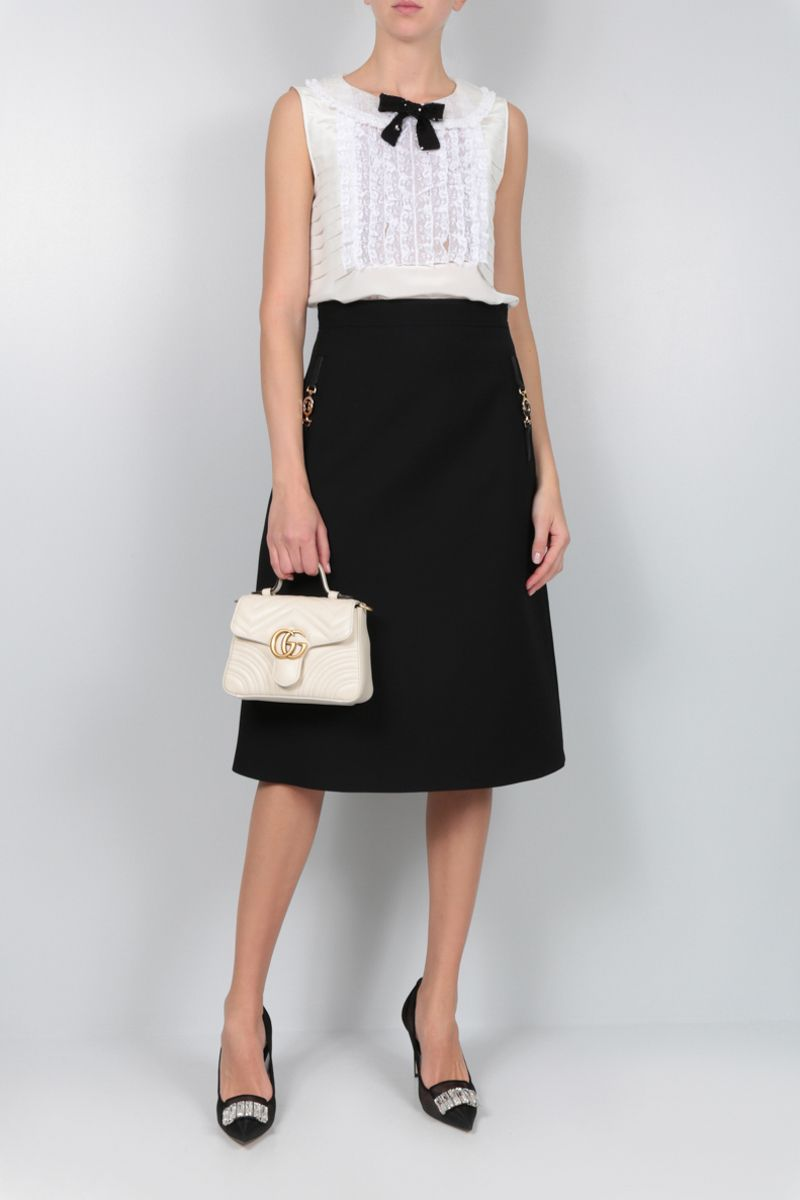 GUCCI: cady A-line midi skirt with Horsebit detail Color Black_2