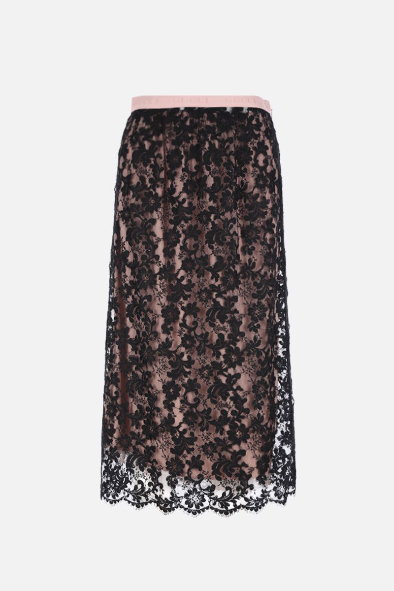 GUCCI: floral lace pencil skirt Color Black_1