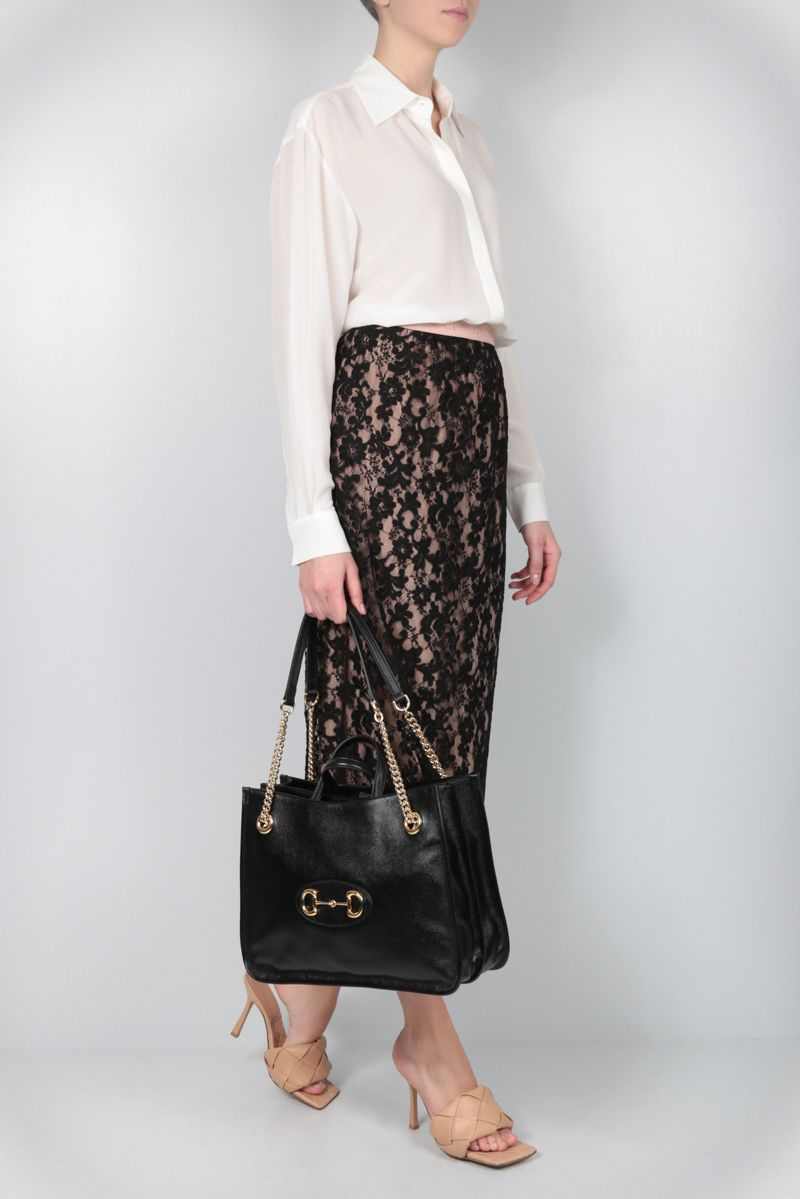 GUCCI: floral lace pencil skirt Color Black_2