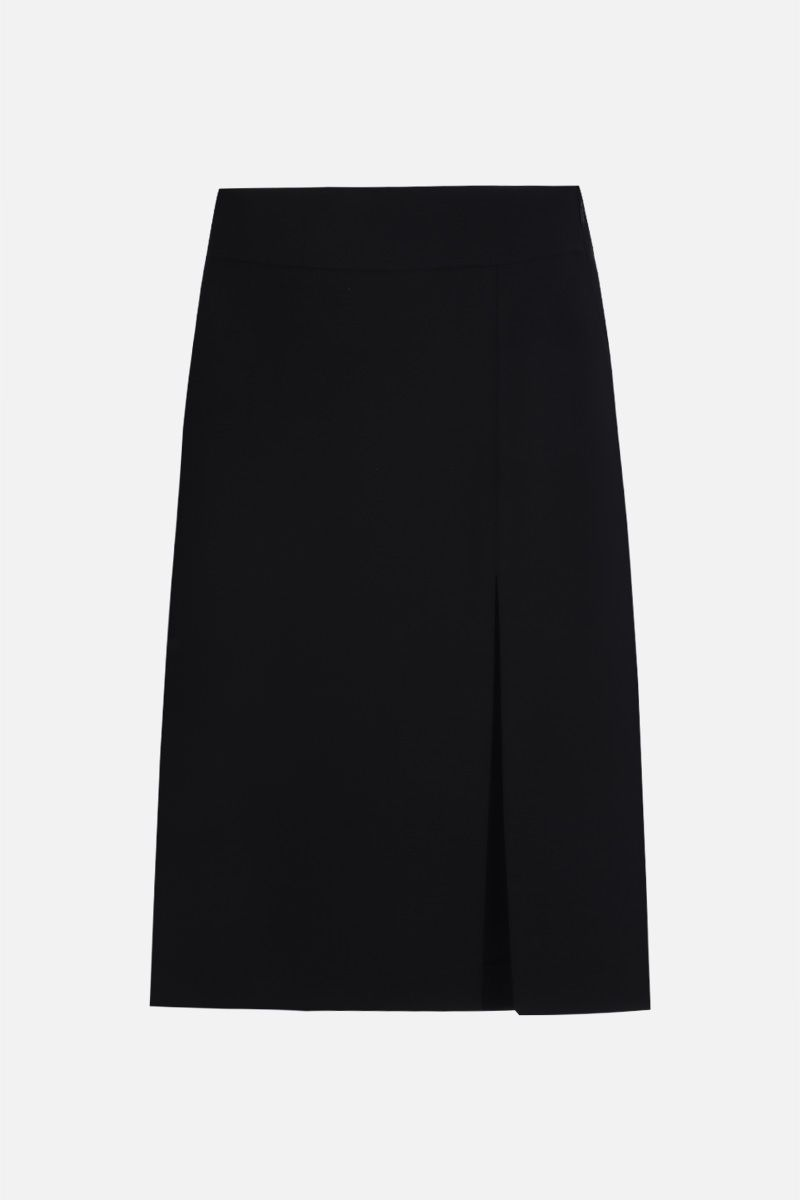 GUCCI: slit-detailed silk wool blend midi skirt Color Black_1