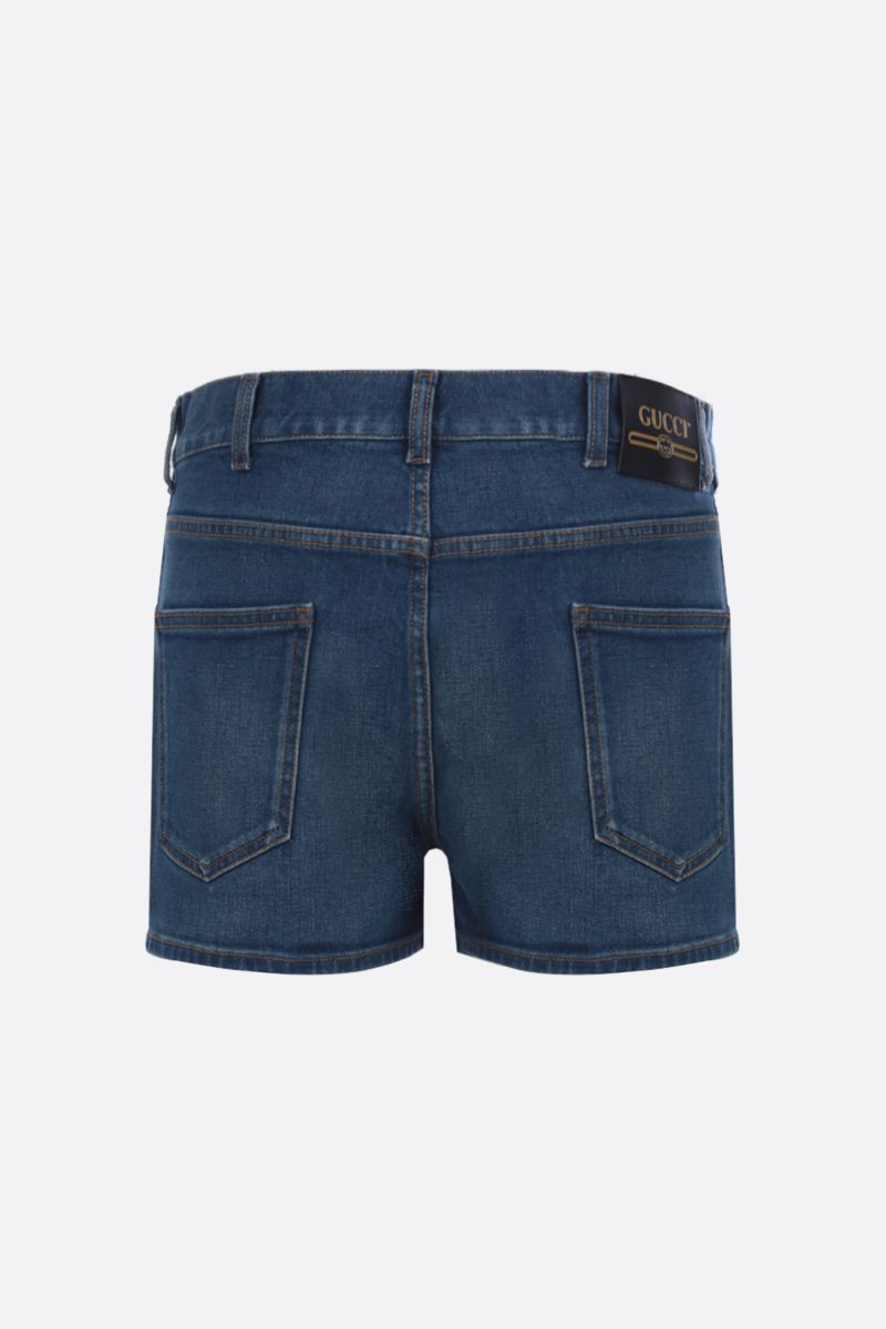 GUCCI: pantalone corto in denim stretch Colore Blu_2