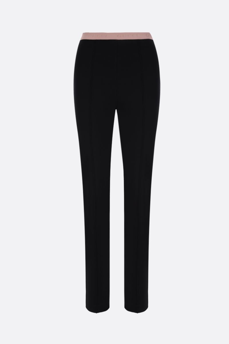 GUCCI: stretch jersey leggings with logoed waistband Color Black_1