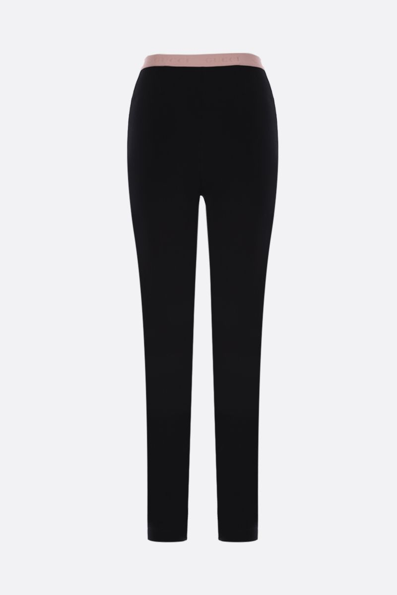 GUCCI: stretch jersey leggings with logoed waistband Color Black_2