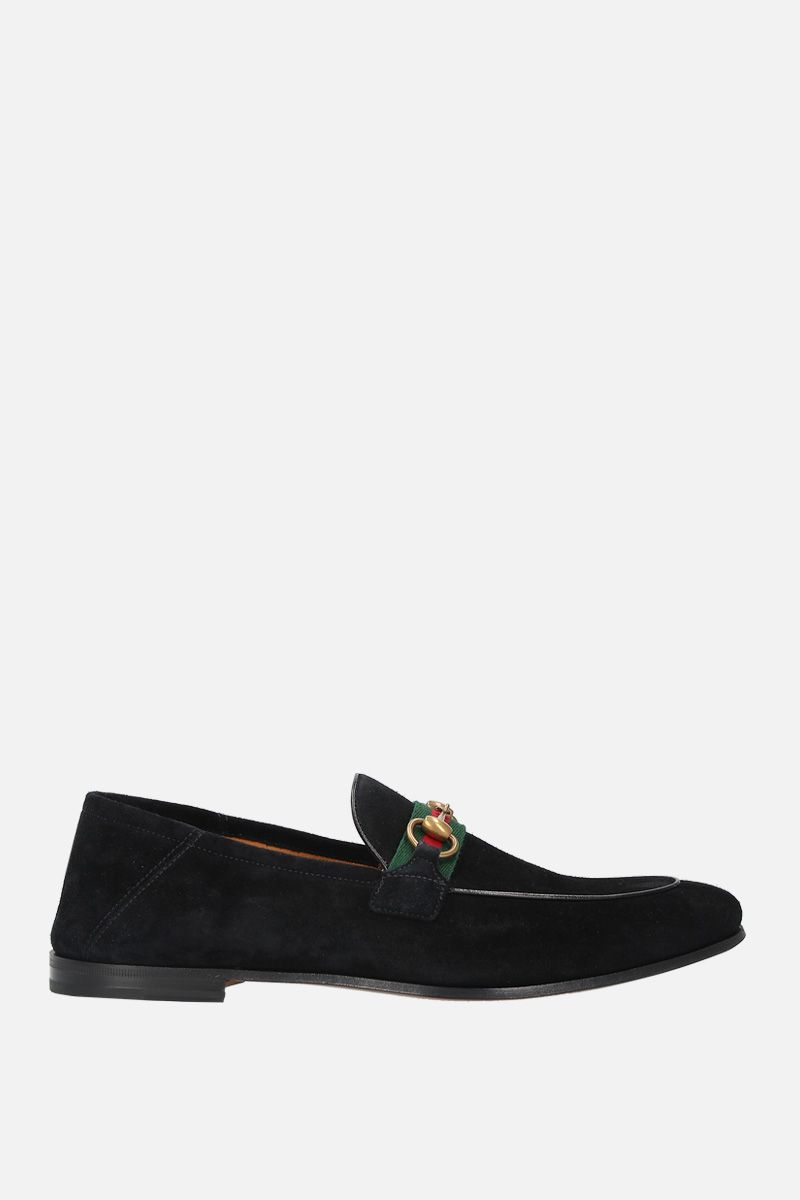 GUCCI: suede Horsebit loafers with Web detail Color Black_1