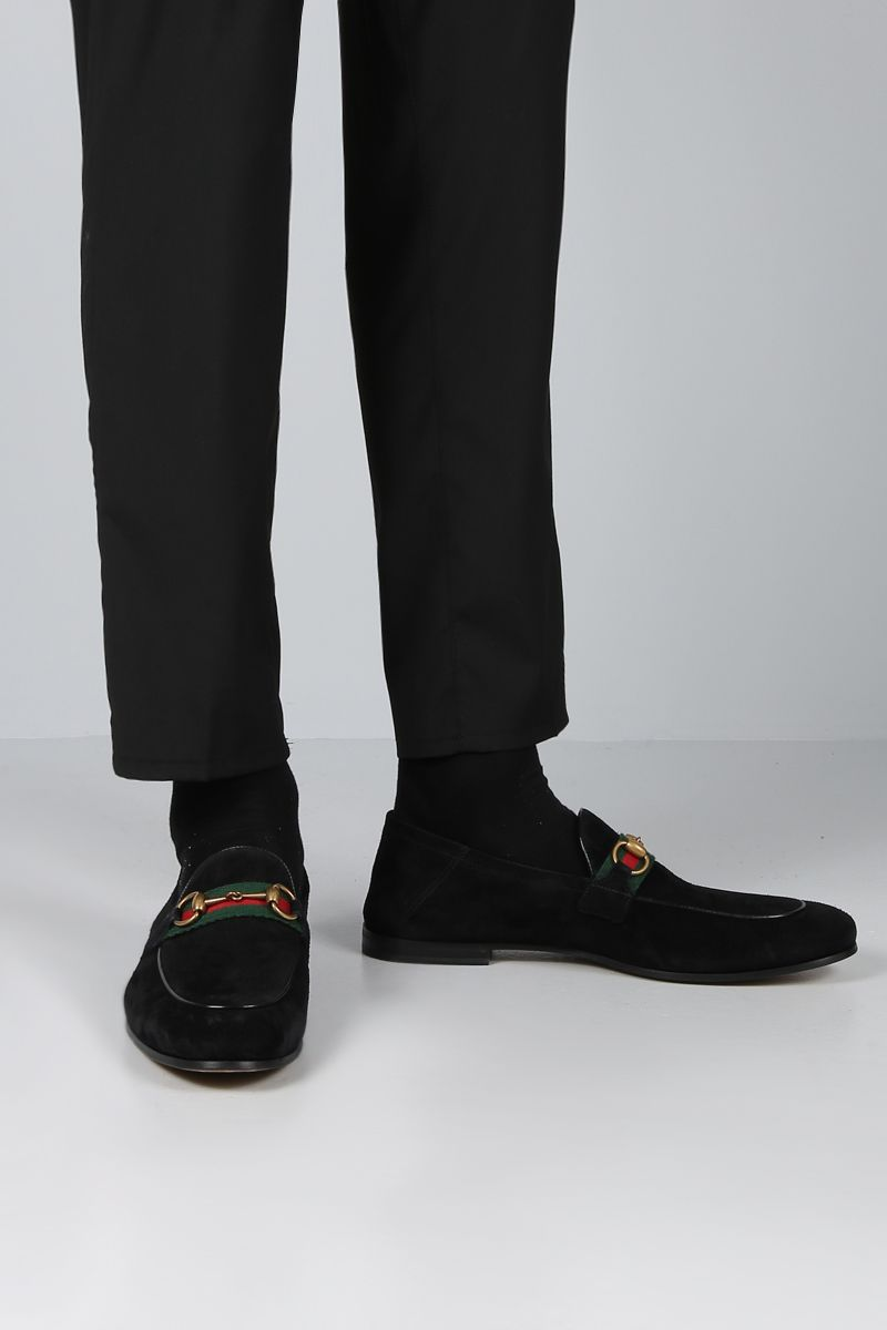 GUCCI: suede Horsebit loafers with Web detail Color Black_2