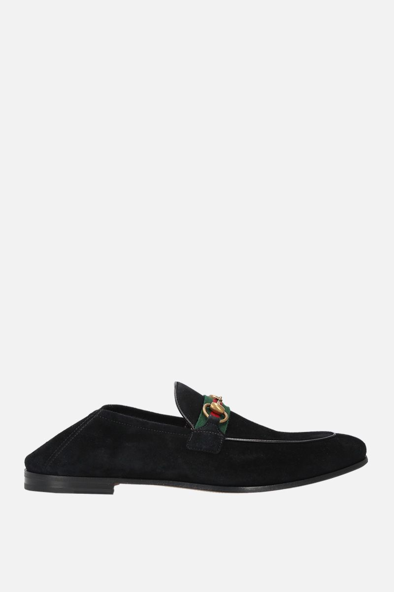 GUCCI: suede Horsebit loafers with Web detail Color Black_3