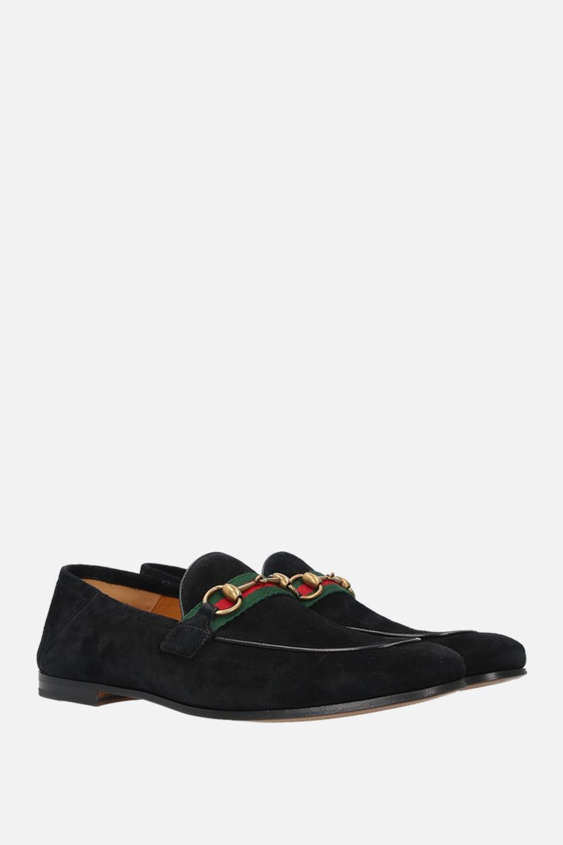 GUCCI: suede Horsebit loafers with Web detail Color Black_4