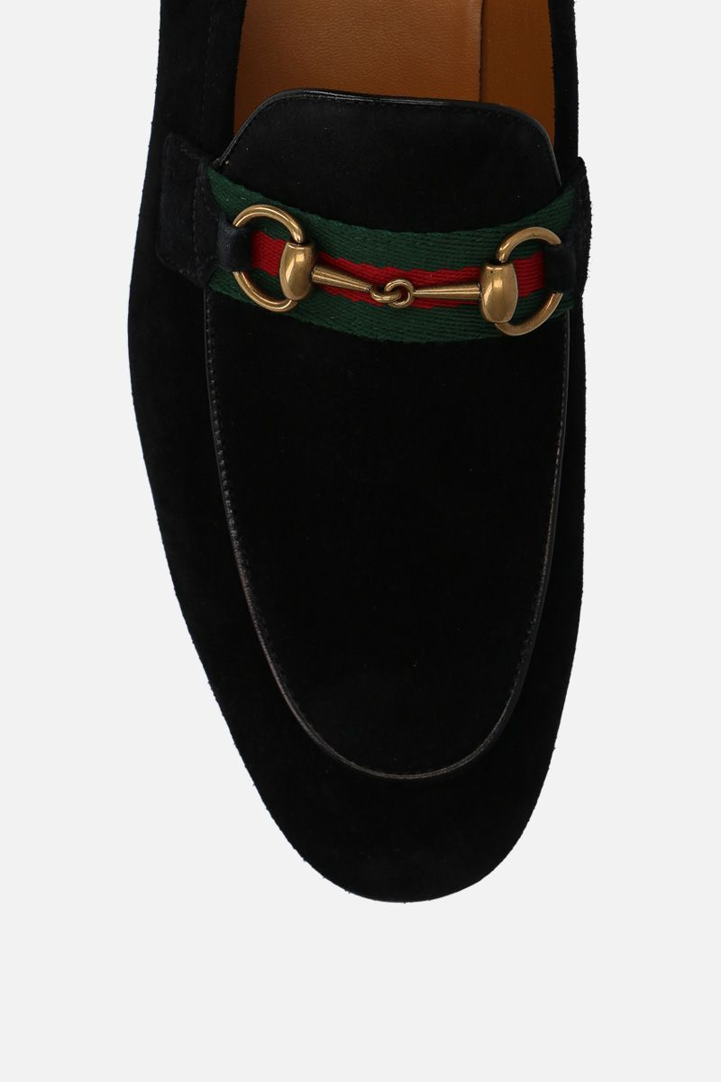 GUCCI: suede Horsebit loafers with Web detail Color Black_6