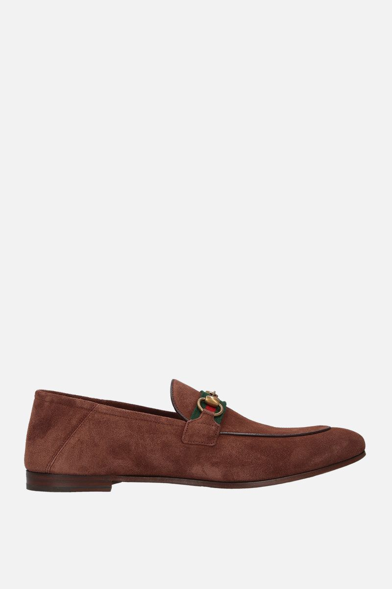 GUCCI: mocassino con morsetto in suede Colore Marrone_1