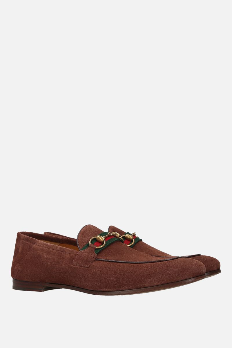 GUCCI: mocassino con morsetto in suede Colore Marrone_2