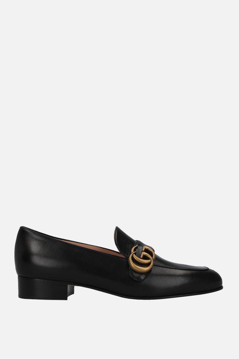 GUCCI: Double G-detailed smooth leather loafers Color Black_1