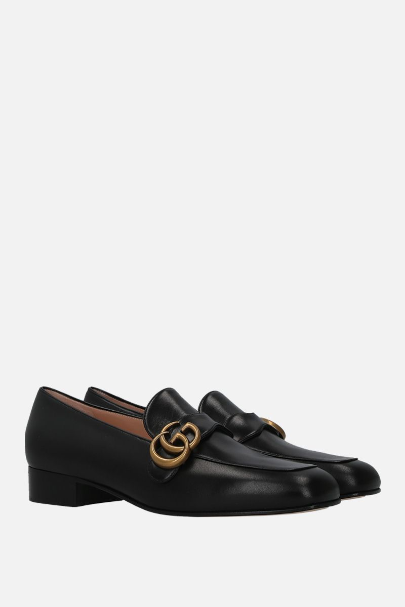 GUCCI: Double G-detailed smooth leather loafers Color Black_2