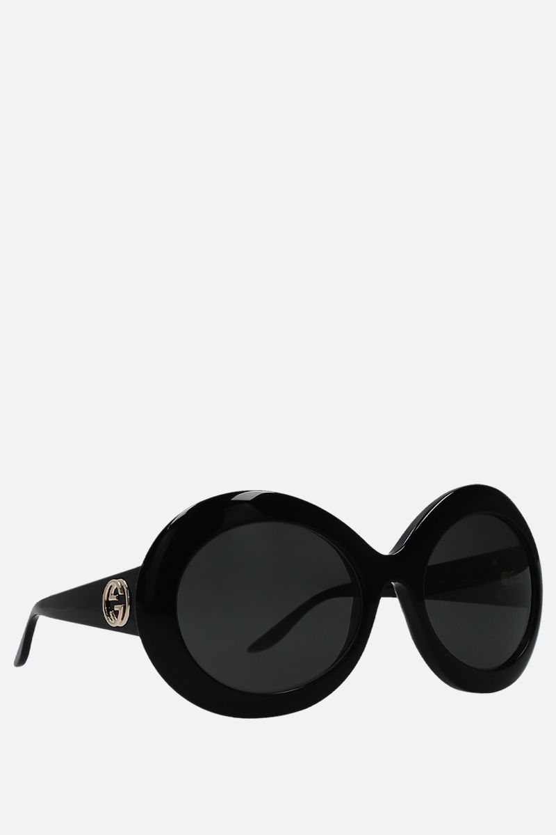 GUCCI: round-shape acetate sunglasses Color Black_2