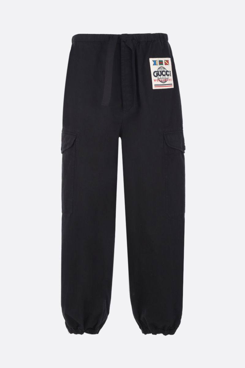 GUCCI: Gucci Worlwide patch cotton cargo pants Color Black_1