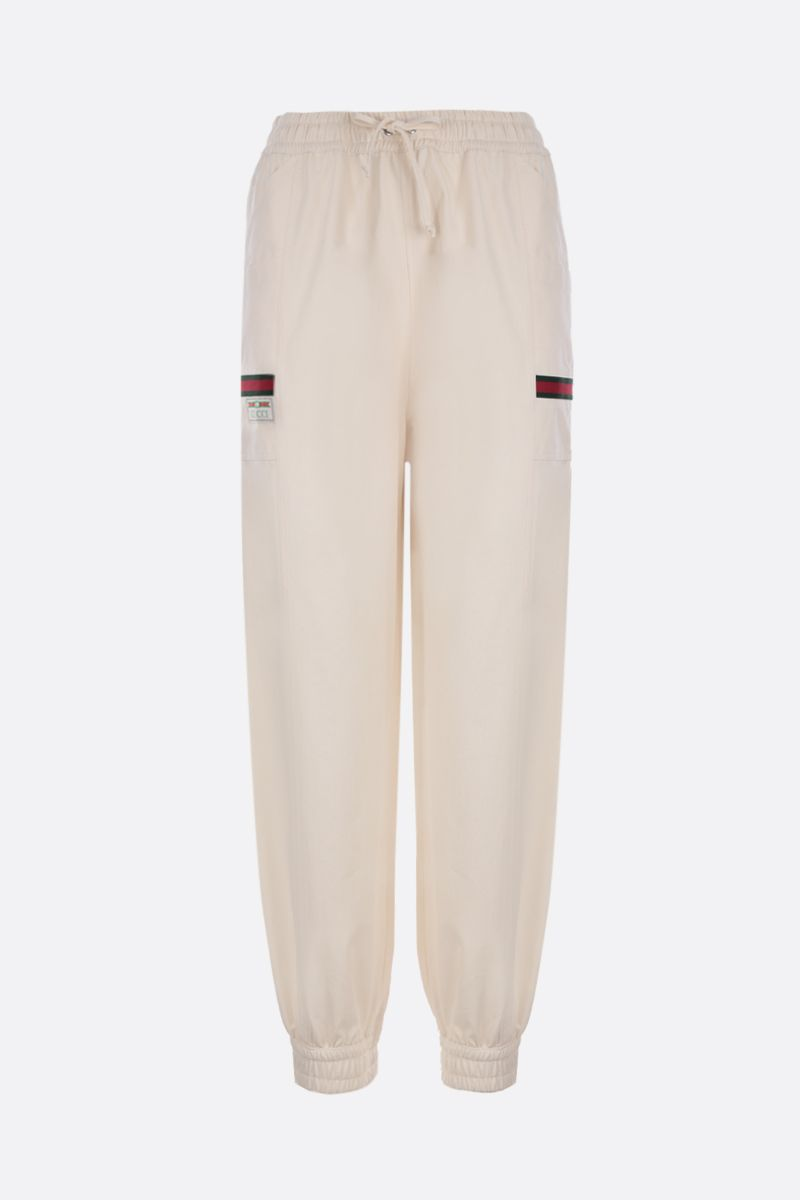 GUCCI: Web-detailed cotton joggers Color White_1
