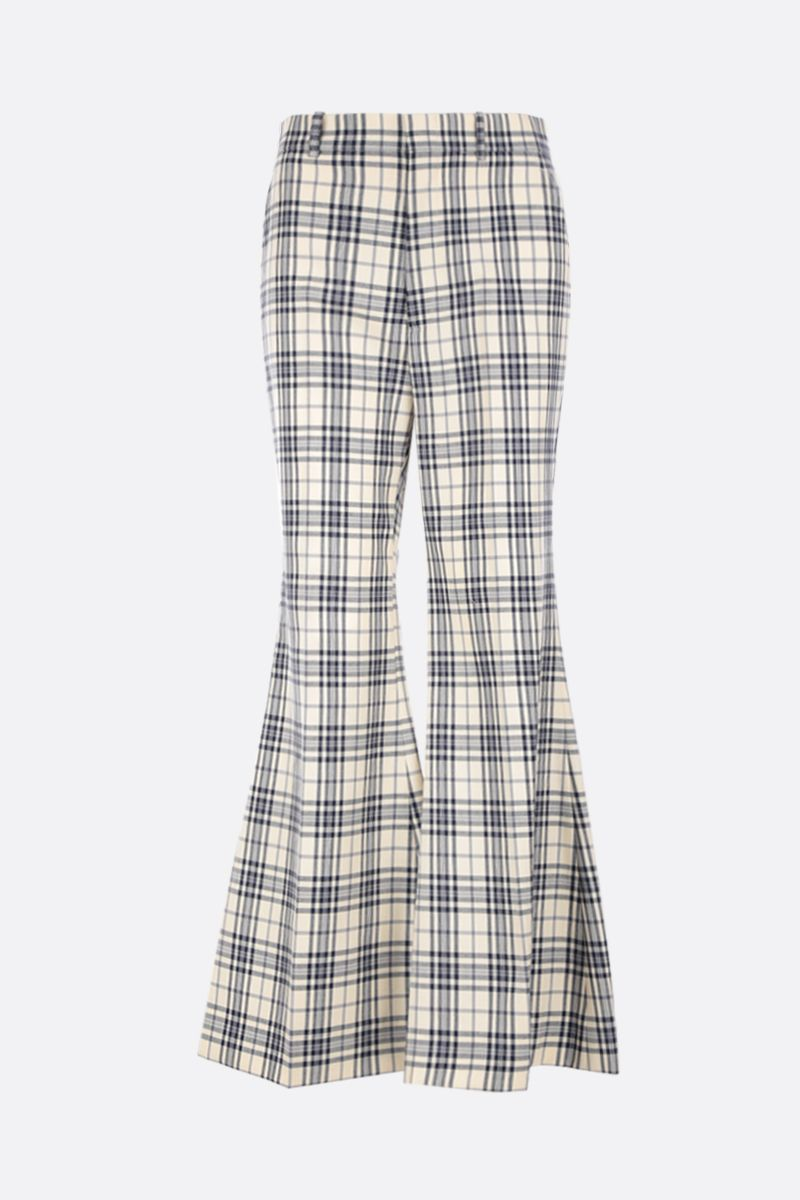 GUCCI: check wool flare pants Color Blue_1