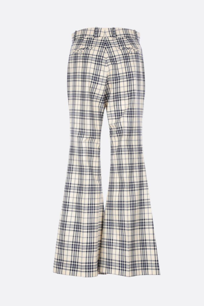 GUCCI: check wool flare pants Color Blue_2