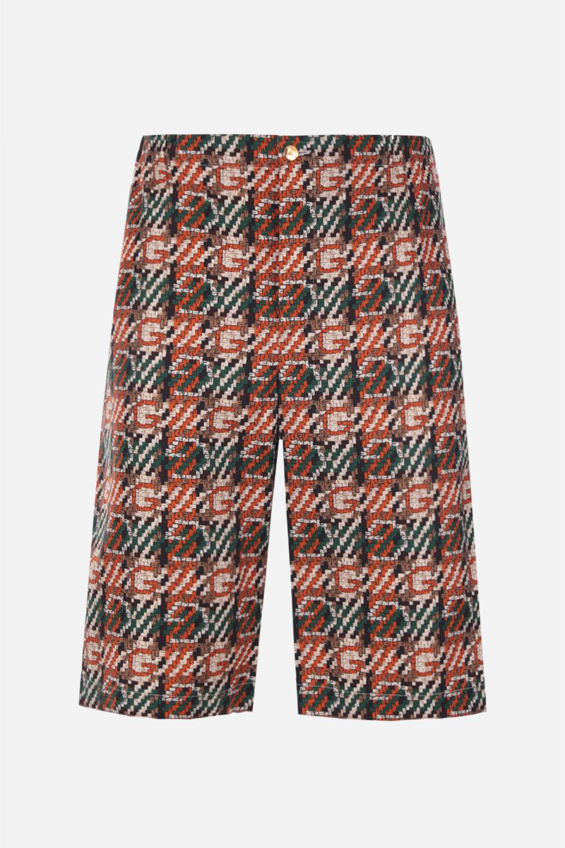 GUCCI: woven effect G print cotton shorts_1