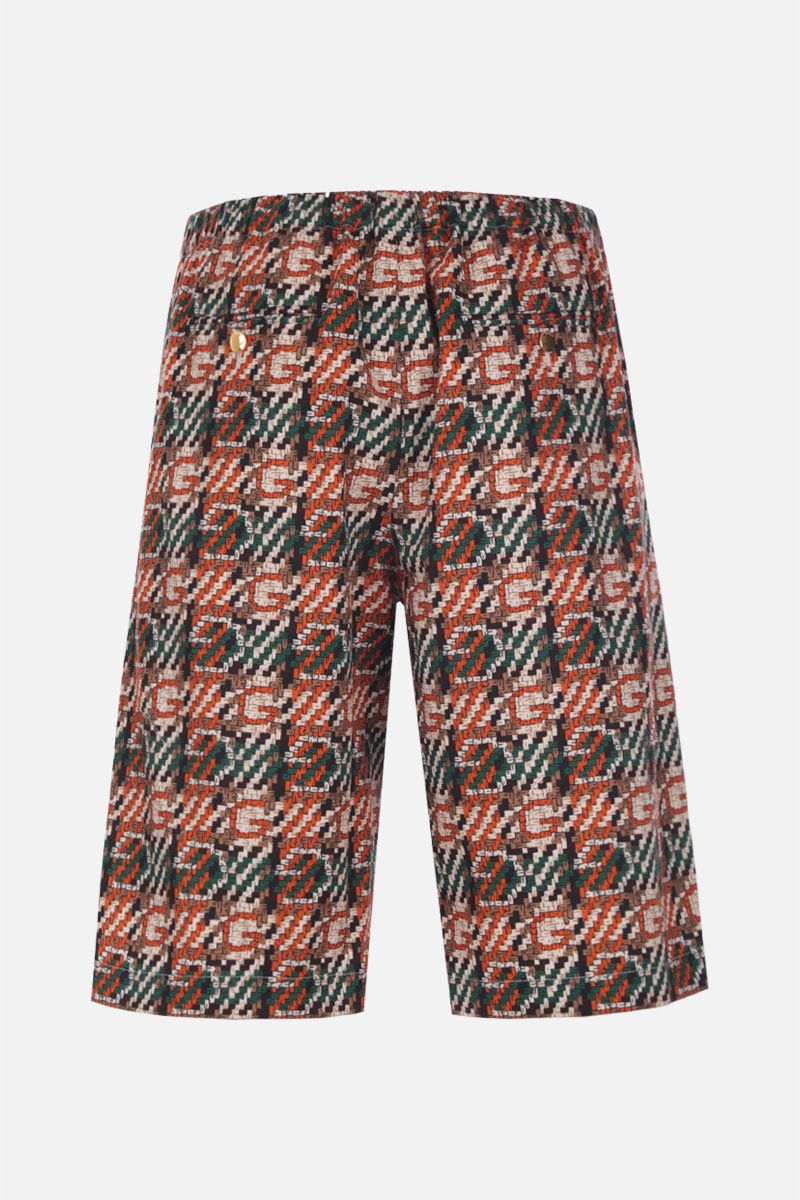 GUCCI: woven effect G print cotton shorts_2