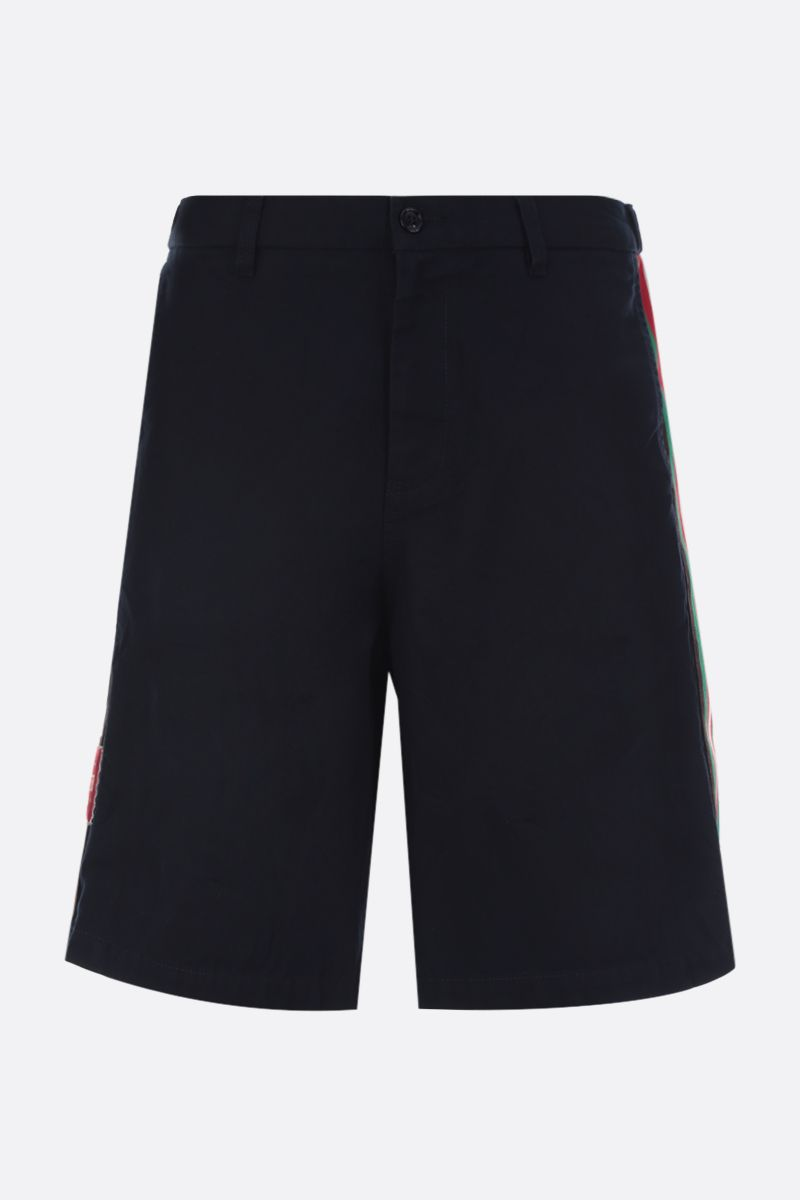 GUCCI: Web-detailed cotton shorts Color Blue_1