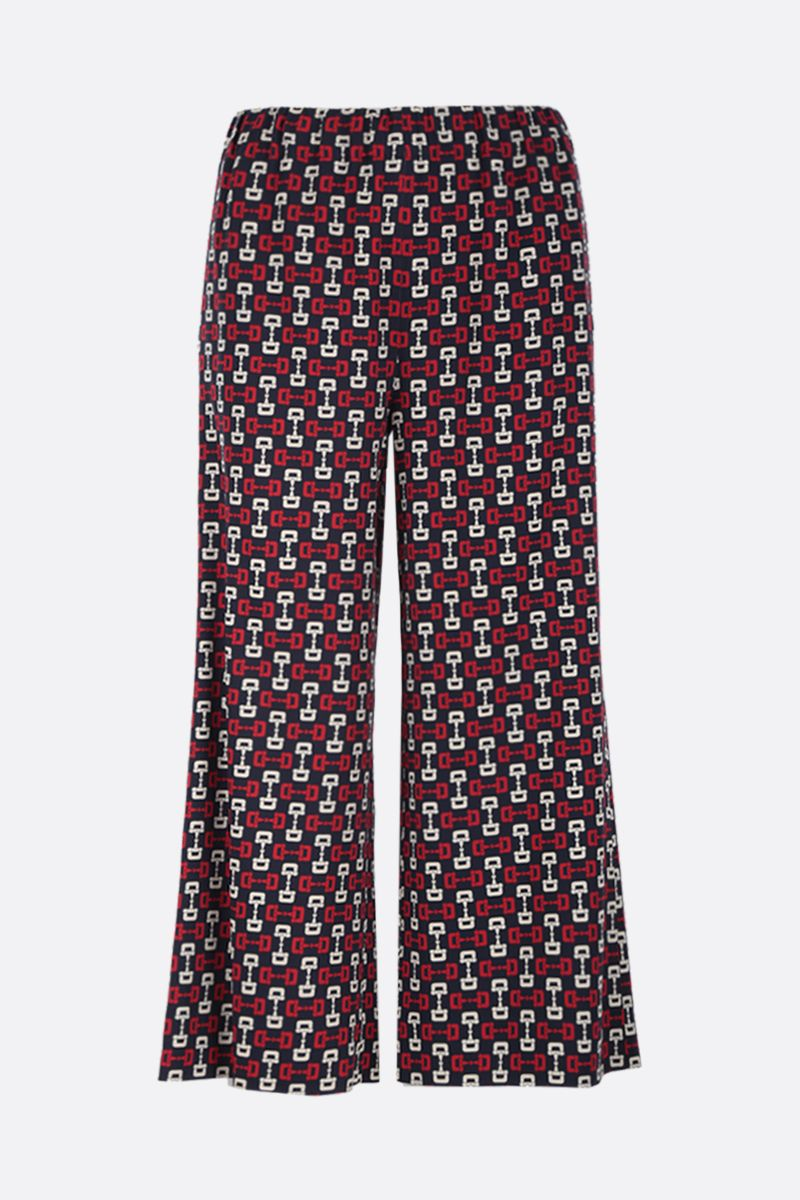 GUCCI: stirrups print stretch cady cropped pants Color Blue_1