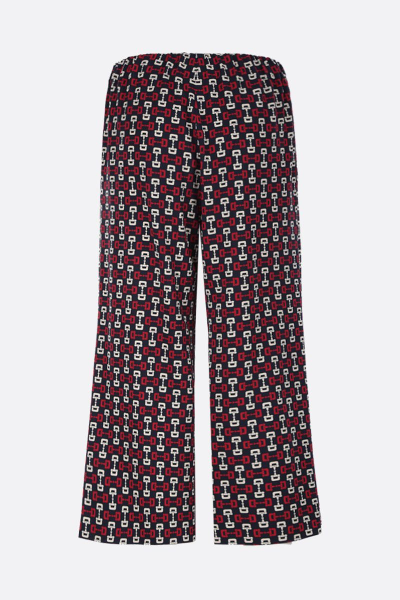GUCCI: stirrups print stretch cady cropped pants Color Blue_2